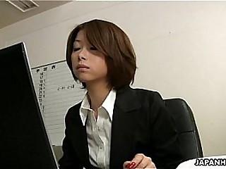 Asian office lady Tsubaki face sitting eradicate affect milquetoast gay blade